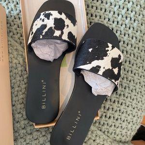 Billini cowhide flat slides